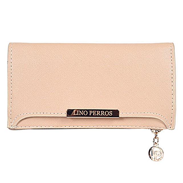 Lino Perros Beige Zip Closure Wallet