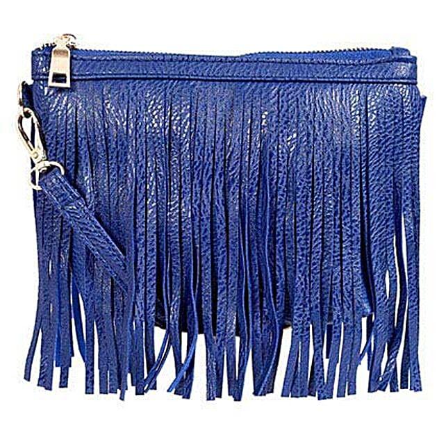 Lino Perros Blue Fringe Sling Bag