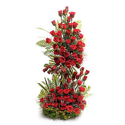 Long Live Love - Life size arrangement of 100 Red roses.
