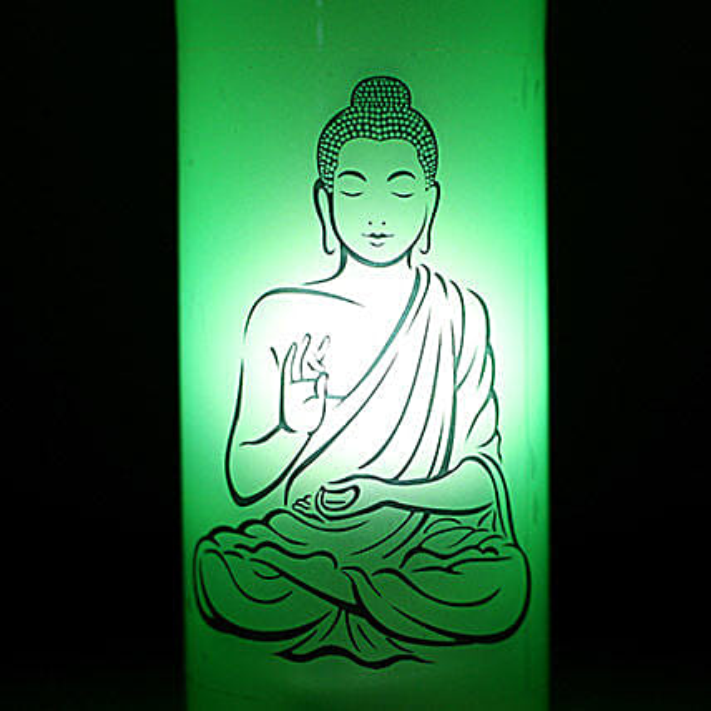 Lord Buddha Lamp-1 green coloured lord buddha bottle lamp