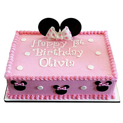 Lovely Pink Minnie Mouse Cake 3kg Black Forest Eggless