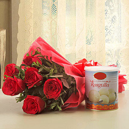 Lucky N Love - Bunch of 6 Red Roses with Rasgulla 1kg.