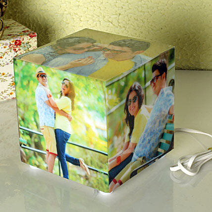 Personalized cube shaped lamp