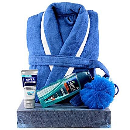 Man In Blue-Dark Blue Tray,Blue and White Bathrobe,Fiama Di Wills Body Wash Men,Blue Loofah,Nivea Advanced Whitening Face Wash Men