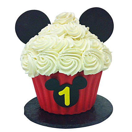 Mickey Mouse Floral Cupcake 12 Eggless
