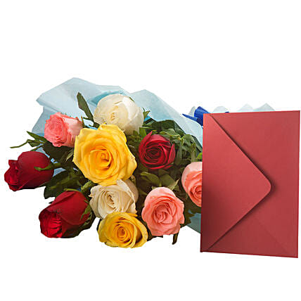 Mix Roses N Greeting Card - Bunch of 10 Mix roses and a greeting card.:Buy Greeting Cards