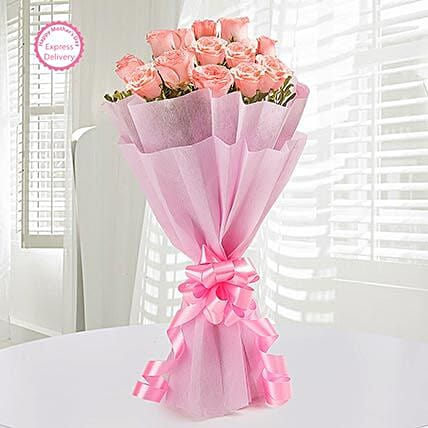 Mothers Day Spl 12 Endearing Pink Roses by FNP