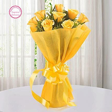 Mothers Day Spl Enticing 8 Yellow Roses by FNP