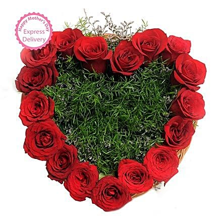 Mothers Day Spl Heart Shape Roses by FNP