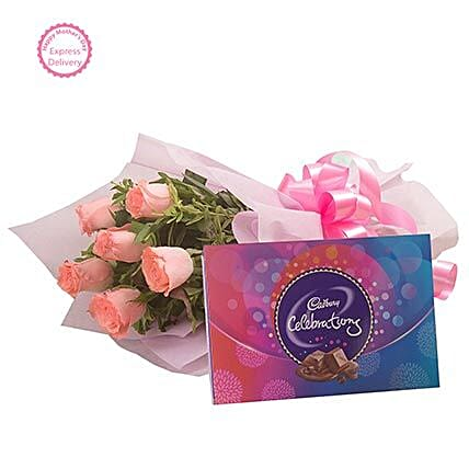 Mothers Day Spl Pink Roses N Chocolates by FNP