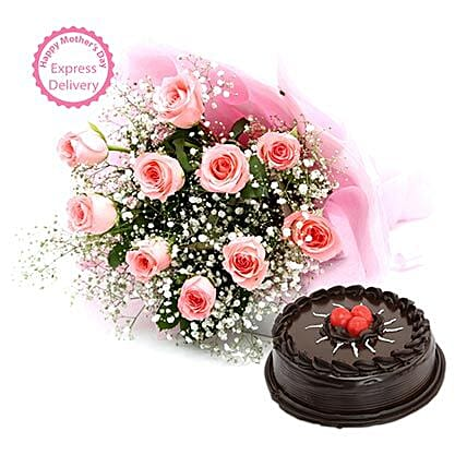 Mothers Day Spl Pink Roses with Cake by FNP