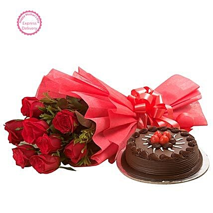 Mothers Day Spl Roses N Cake by FNP