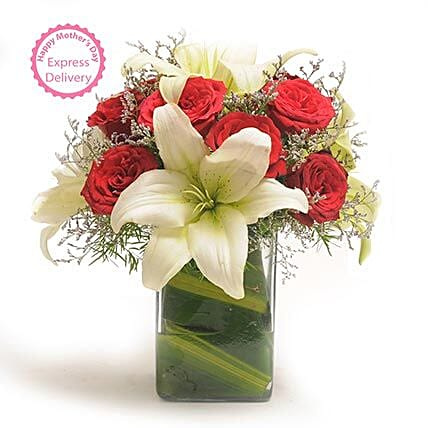 Mothers Day Spl Roses N Lilies by FNP
