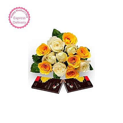 Mothers Day Spl Roses with Dark Chocolate by FNP