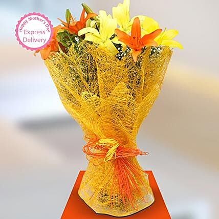 Mothers Day Spl Sunshine Lillies by FNP