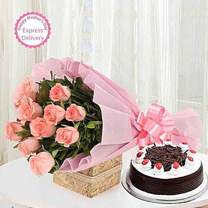 Mothers Day Spl Sweet Treat with Flowers by FNP