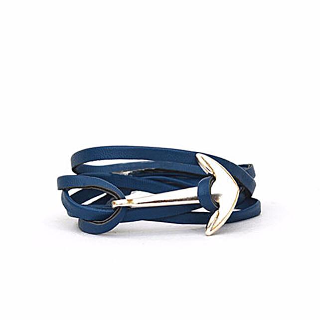 Navy Anchor Loop Bracelet