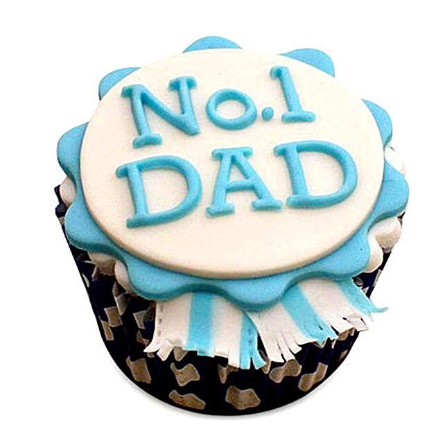 No.1 Dad Designer Cupcake 12 Eggless
