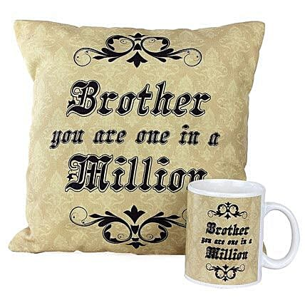 One In Million Brother Combo-1 Cushion,1 Mug,both with message,Brother you are one in a million