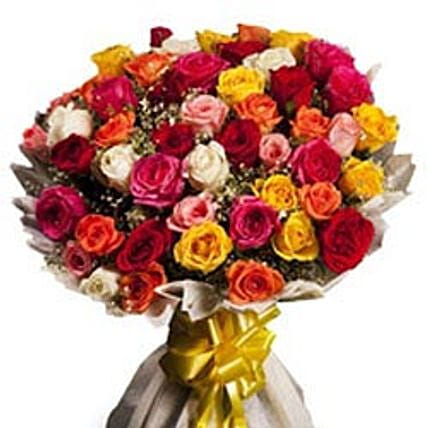 Opulence - 50 mix color roses with lots of seasonal fillers