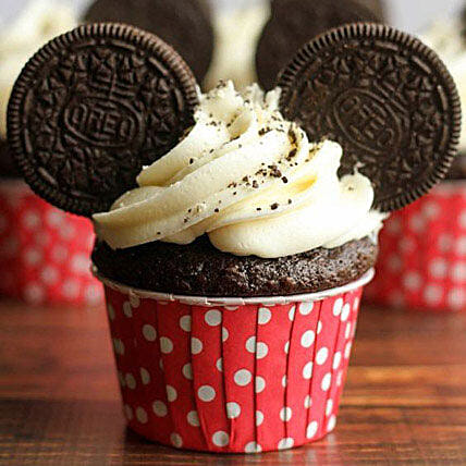Oreo Twirling Cupcakes 6 Eggless