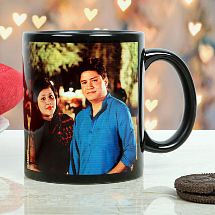 Personalized Couple Mug-printed on black ceramic coffee mug:Send Gifts to Bokaro