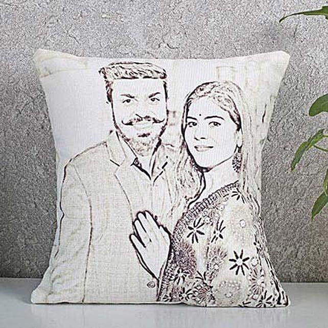 Customised couple sketch cushion