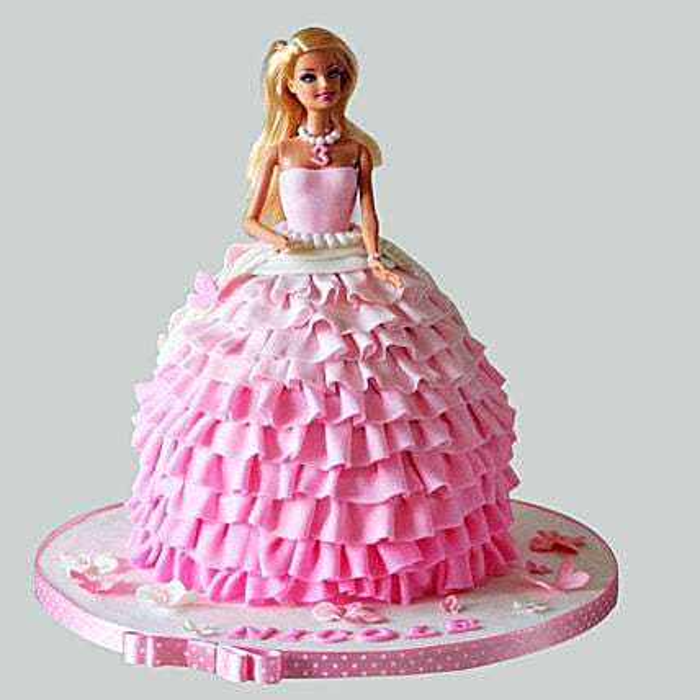Pink Dress Barbie Cake 3kg Black Forest Eggless