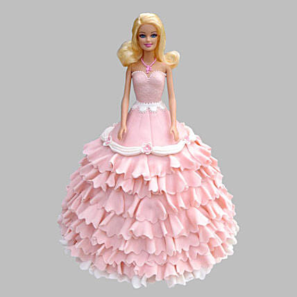 Pink Floral Barbie Cake 2Kg Eggless Butterscotch