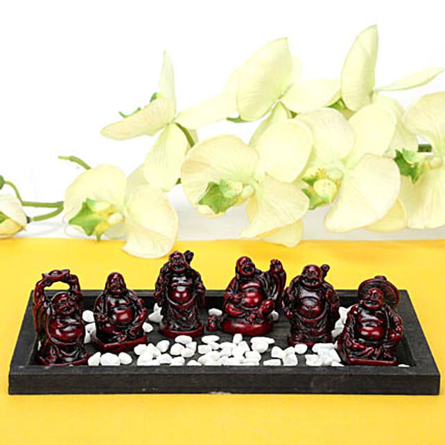 Platter Full Buddhas-6 buddha in black tray