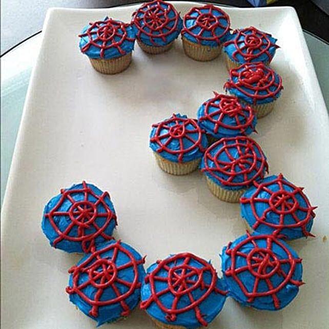 spiderman design cupcake