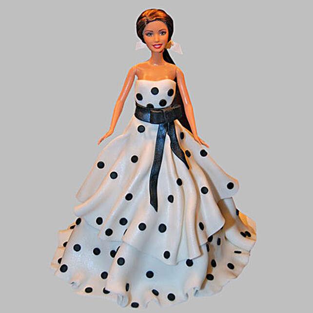 Polka Dots Dress Barbie Cake 3Kg Eggless Black Forest