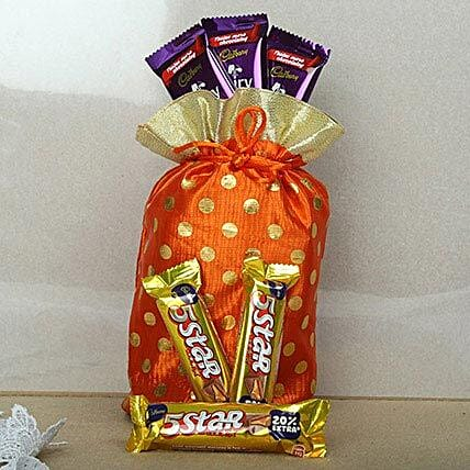 Red Chocolates Potli-3 Cadbury Five Star Chocolates 24 grams each,3 Cadbury Dairy Milk Chocolates 17grams each