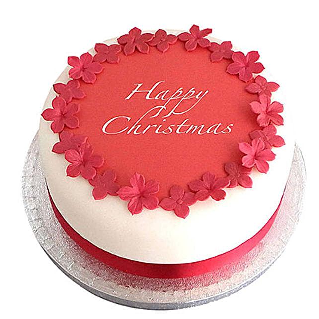 Red N White Christmas Fondant Cake Black Forest 2kg Eggless