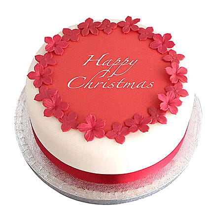 Red N White Christmas Fondant Cake Pineapple 1kg