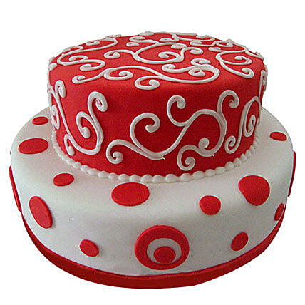 Red N White Fondant Cake Butterscotch 5kg Eggless
