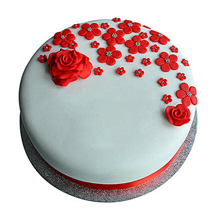 Red Roses Anniversary Fondant Cake Chocolate 3kg Eggless