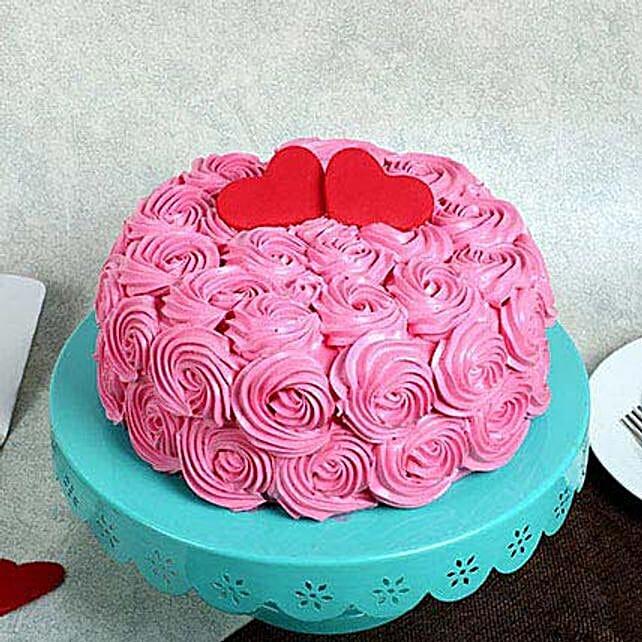 Rose Cream Valentine Cake Black Forest 2kg Eggless