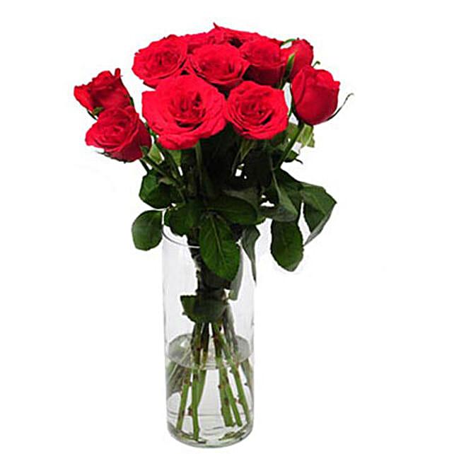Rose Delight - Glass vase arrangement of a 12 red roses.