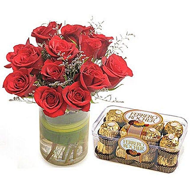 Roses n Ferrero Christmas Gift By FNP