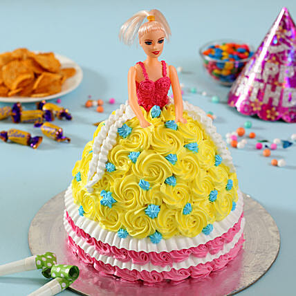 Rosy Barbie Cake Butterscotch 2kg Eggless