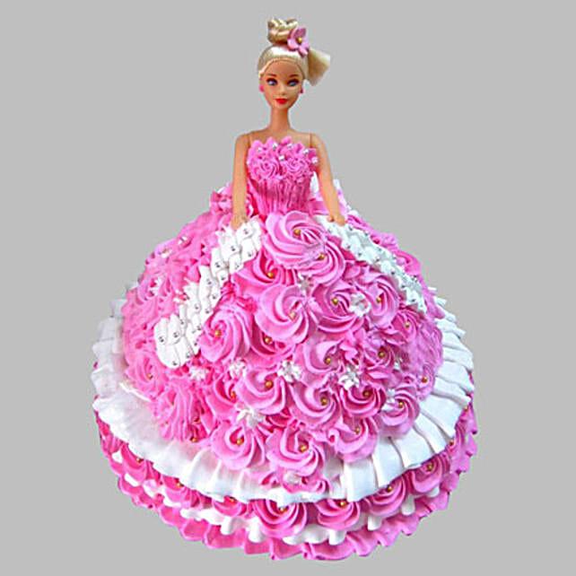 Rosy Barbie Cake Vanilla 3kg Eggless