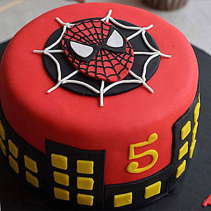 Round Fondant Spiderman Cake 2kg Pineapple Eggless