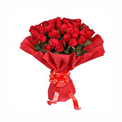 Ruby Red - Bunch of 40 Red Roses in a Red paper packing.