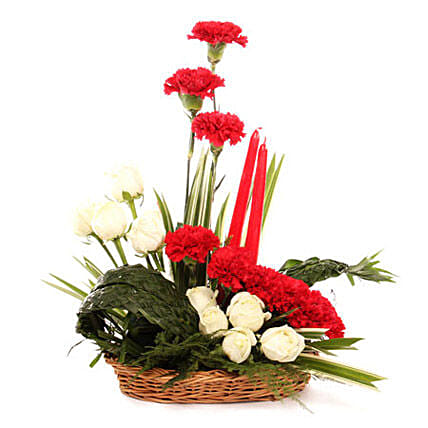 Serene Expression Of Love - Basket arrangement of 10 roses, 8 red carnations.