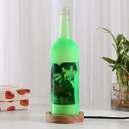 Shining Memory Lamp-1 green colored personalized bottle lamp gifts:Send Gifts to Mahe