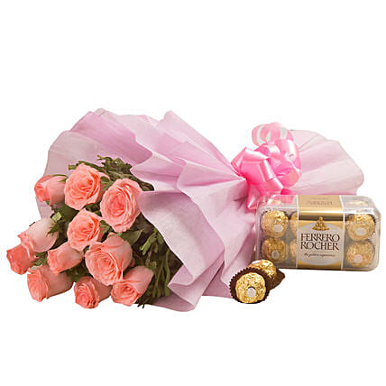 Simple Elegance - Bunch of 12 pink roses in with 200gm Ferrero rocher chocolate box.