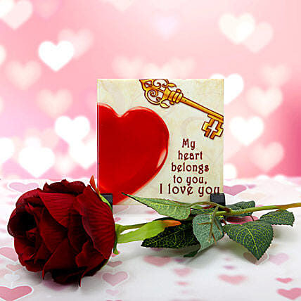 Simple Impartial Love-3x6 inches love quote table top memento,artificial long stem rose