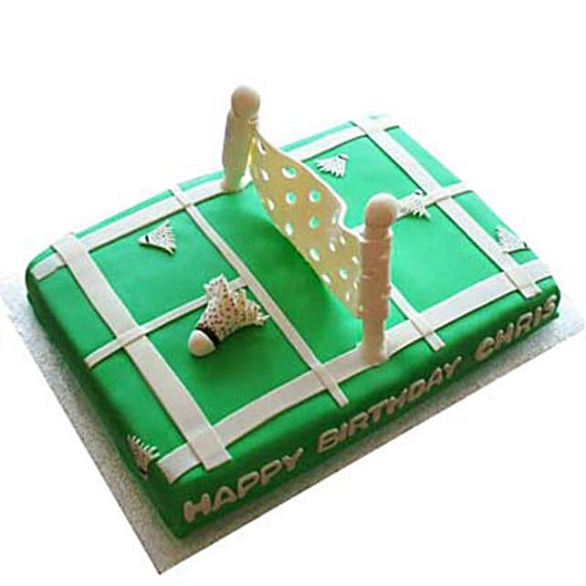 Smashing Badminton Court Cake 4Kg Butterscotch