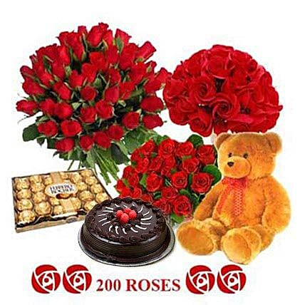 Soulmate - One feet tall from Archies, 1kg Truffle cake from 5 star Hotel, 300gm Ferrero Rocher Chocolate pack, 3 different basket arrangement including of 200 Red Roses.